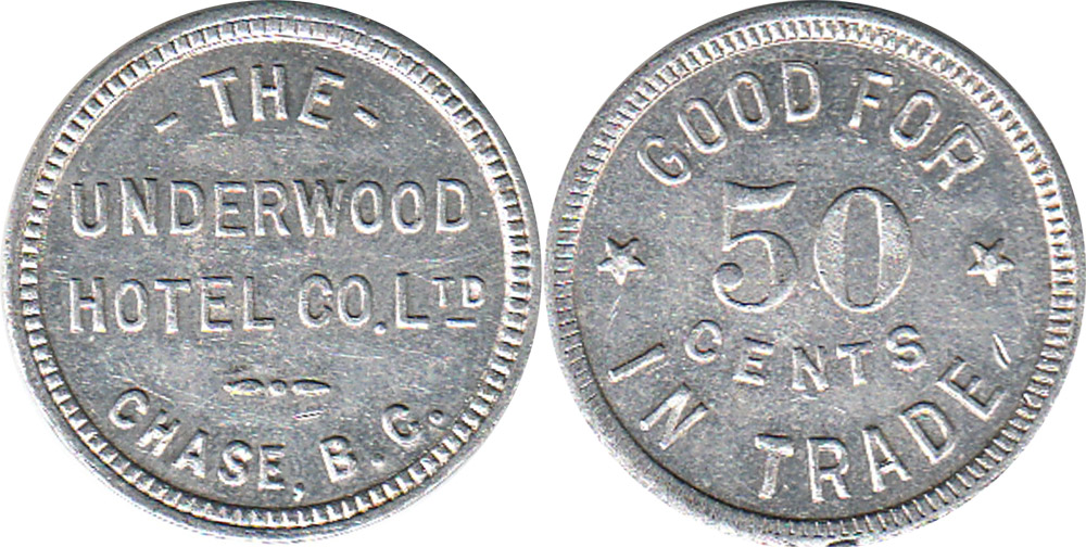 The Underwood Hotel Co. - Chase - 50 cents - Aluminium