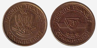 Brass - Token transit en commun - Toronto Transit Commission - 1966