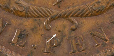 Bank of Upper Canada - 1 penny 1850 - Dot between cornucopias