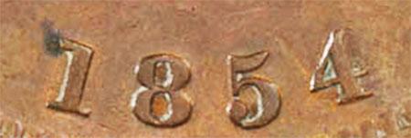Bank of Upper Canada - 1 penny 1854 - Plain 4