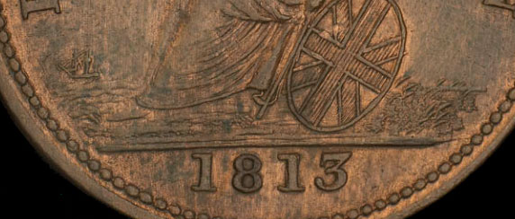 Wellington - 1/2 penny 1813 - Date