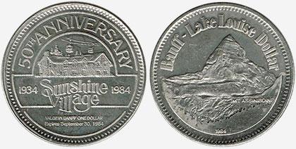 Banff / Lake Louise - Trade Dollar - Sunshine Village - 1984