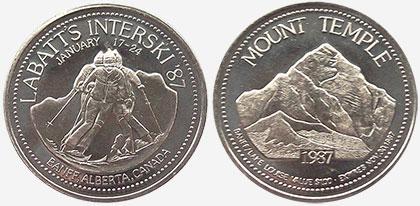 Banff / Lake Louise - Trade Dollar - Labatt's Interski 1987 - Mount Temple