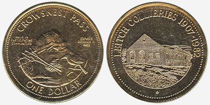 Crowsnest Pass - Trade Dollar - 1982 - Leitch Collieries - Gold plated