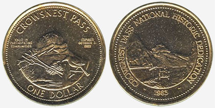 Crowsnest Pass - Trade Dollar - 1983 - Historic Dedication - Gold plated