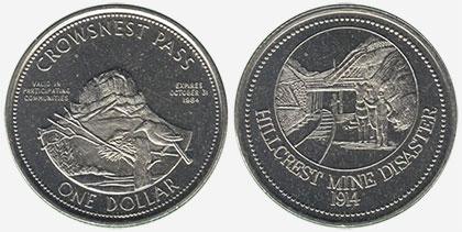 Crowsnest Pass - Trade Dollar - 1984 - Hillcrest Mines