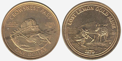 Crowsnest Pass - Trade Dollar - 1989 - Lost Lemon Gold Mine - Gold plated