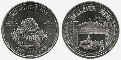 Crowsnest Pass - Trade Dollar - 1990 - Bellevue Mine