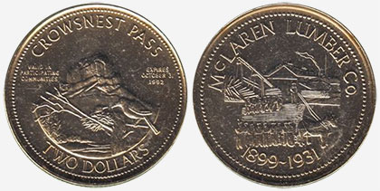 Crowsnest Pass - Trade Dollar - 1992 - McLaren Lumber Co. - Gold plated