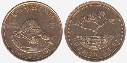 Crowsnest Pass - Trade Dollar - 1995 - Burmis Tree - Gold plated
