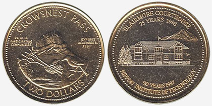Crowsnest Pass - Trade Dollar - 1997 - Blairmore Courthouse - Gold plated
