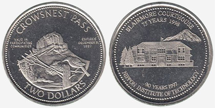 Crowsnest Pass - Trade Dollar - 1997 - Blairmore Courthouse