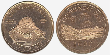 Crowsnest Pass - Trade Dollar - 2000 - Crowsnest Pass - Gold plated