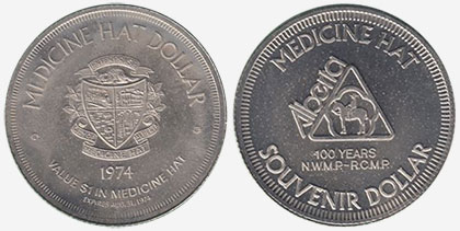 Medicine Hat - Souvenir Dollar - 1974