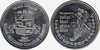 Niagara Falls - Trade Dollar - 1981 - Indian Maid of the Mist