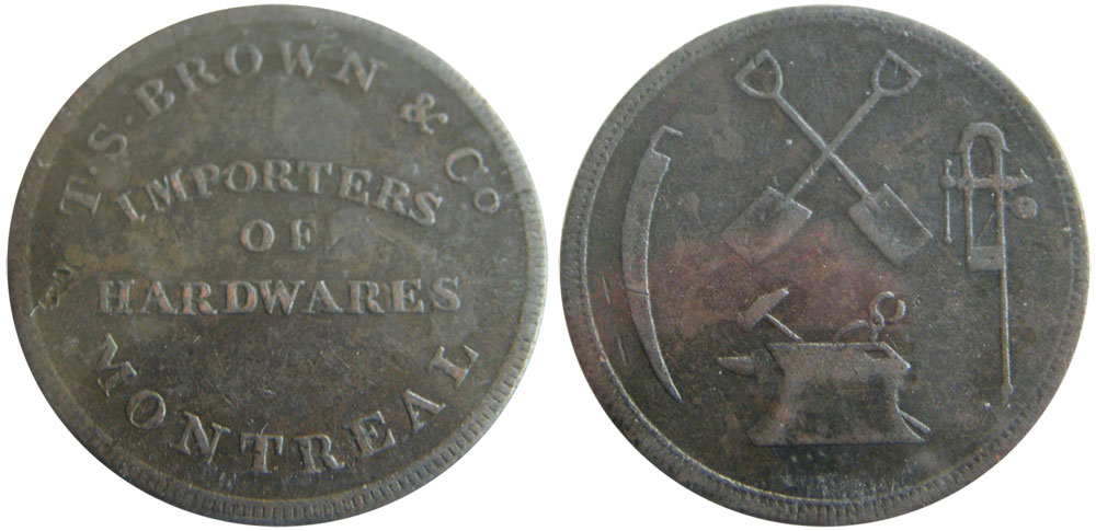 VF-20 - T.S. Brown & Company - 1/2 penny 1837