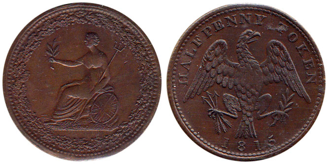 MS-60 - Spread Eagle - 1/2 penny 1813
