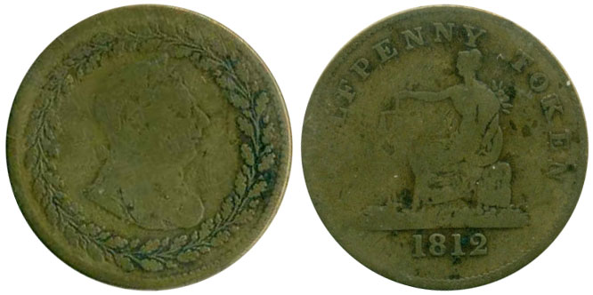 G-4 - Thomas Halliday/Tiffin - 1/2 penny 1812