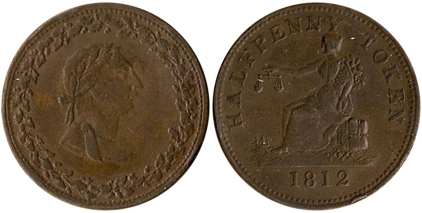 VF-20 - Thomas Halliday/Tiffin - 1/2 penny 1812