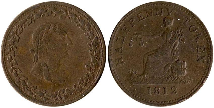VF-20 - Thomas Halliday - 1/2 penny 1812