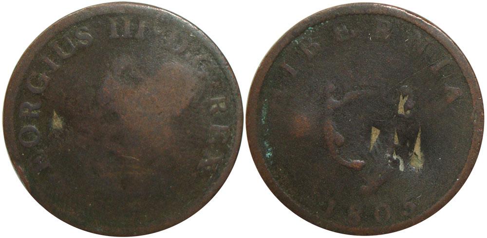 AG-3 - Hibernia - 1/2 penny 1805