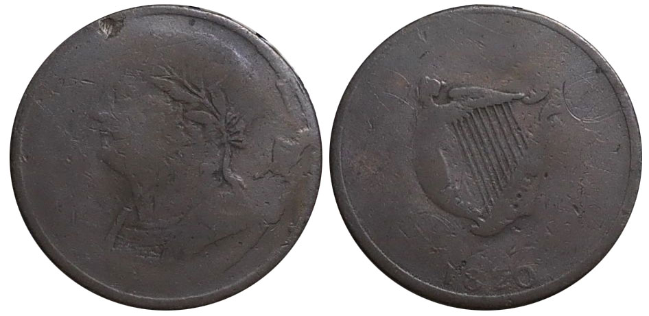 AG-3 - Bust and Harp - 1/2 penny 1820