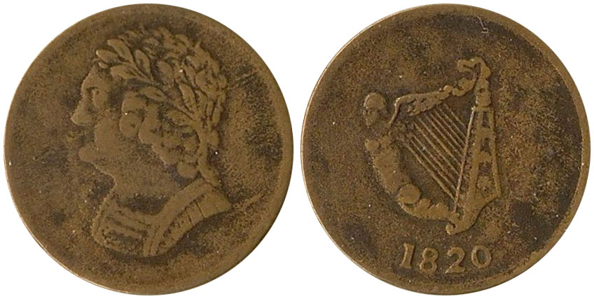 F-12 - Imitation Bust and Harp - 1/2 penny 1820