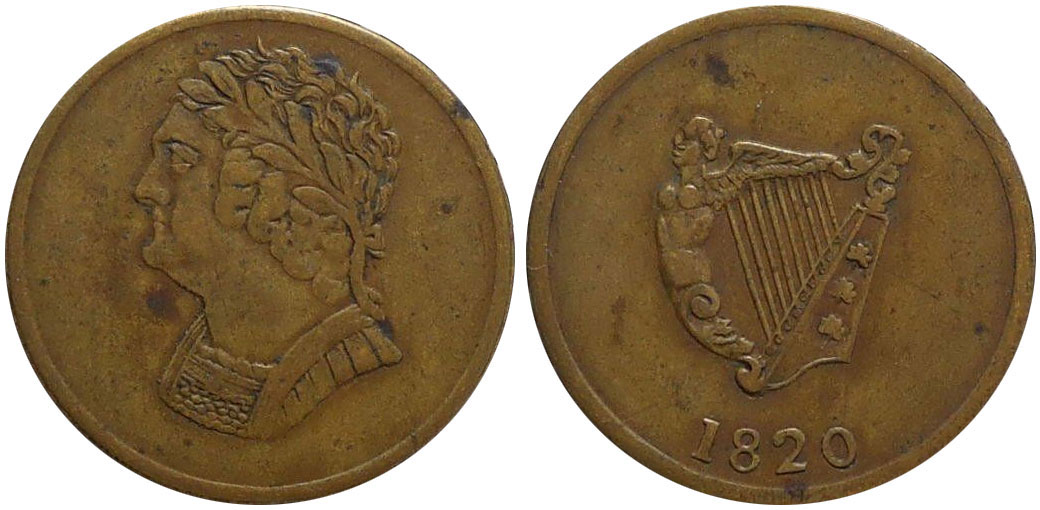 VF-20 - Imitation Bust and Harp - 1/2 penny 1820