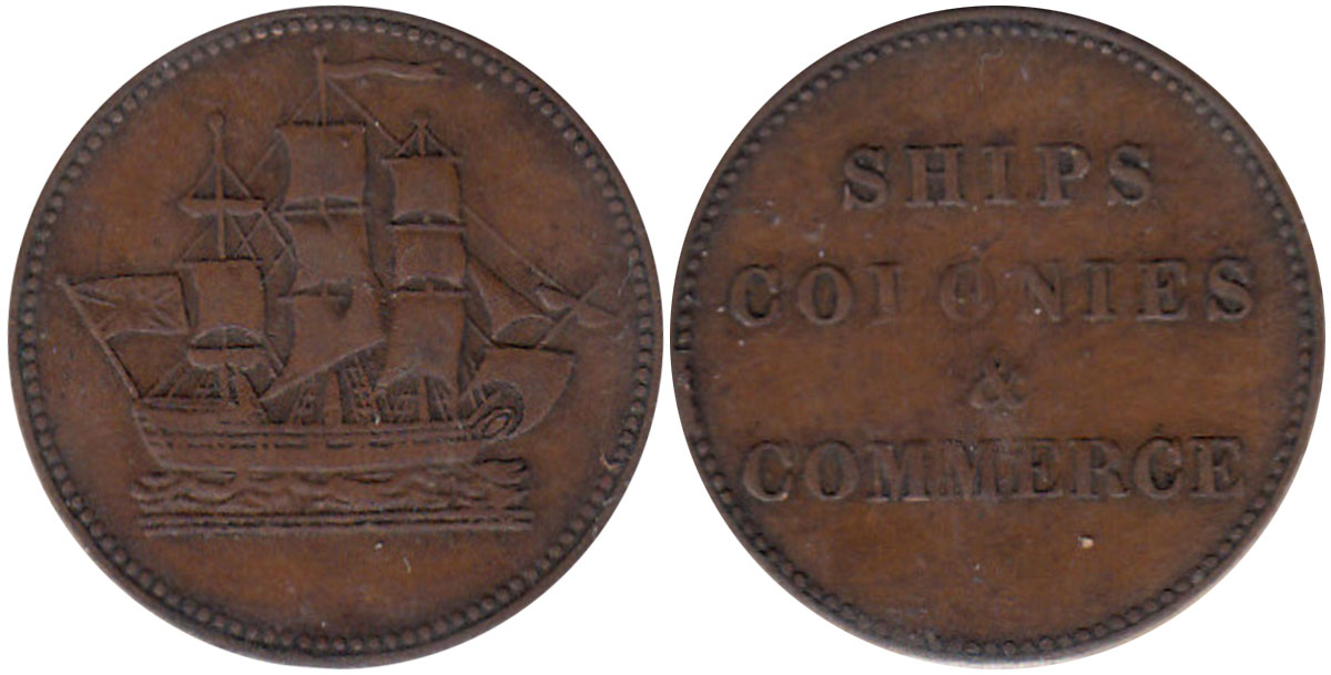 VF-20 - Ships, colonies & commerce - 1/2 penny 1835