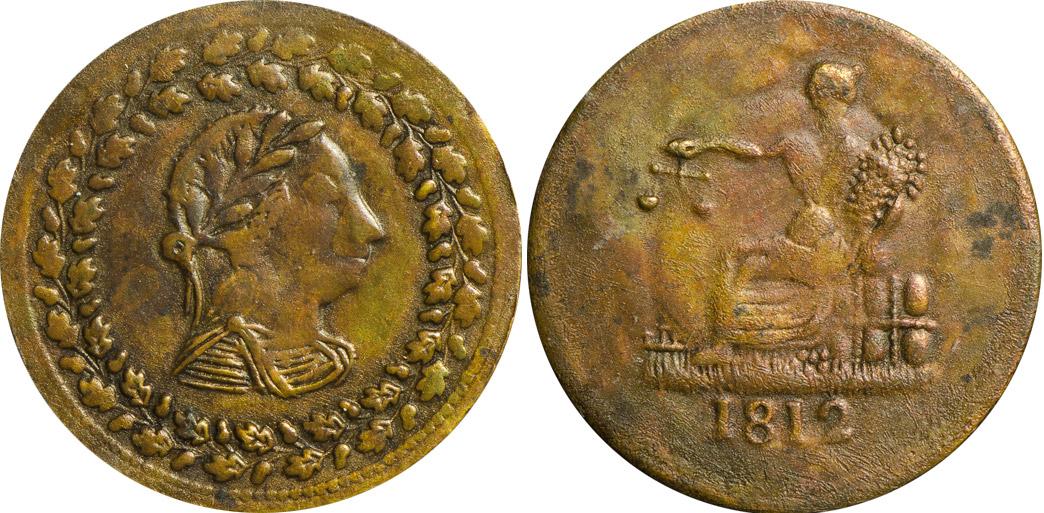 MS-60 - Thomas Halliday - 1/2 penny 1812