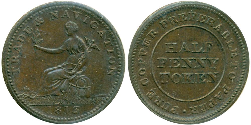 AU-50 - Trade & Navigation - 1/2 penny 1813