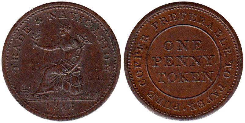 AU-50 - Trade & Navigation - 1 penny 1813