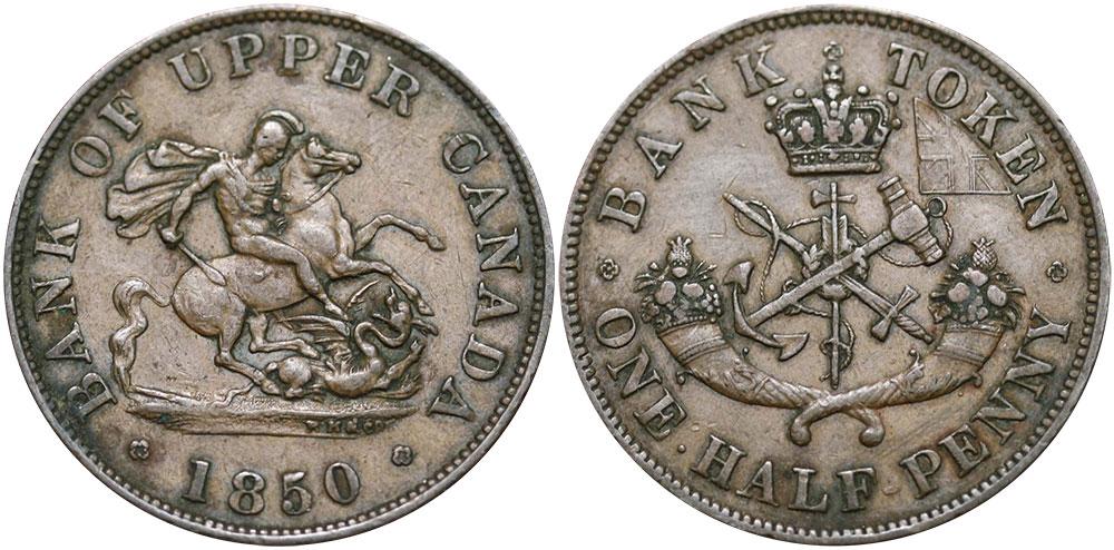 VF-20 - 1/2 penny 1850
