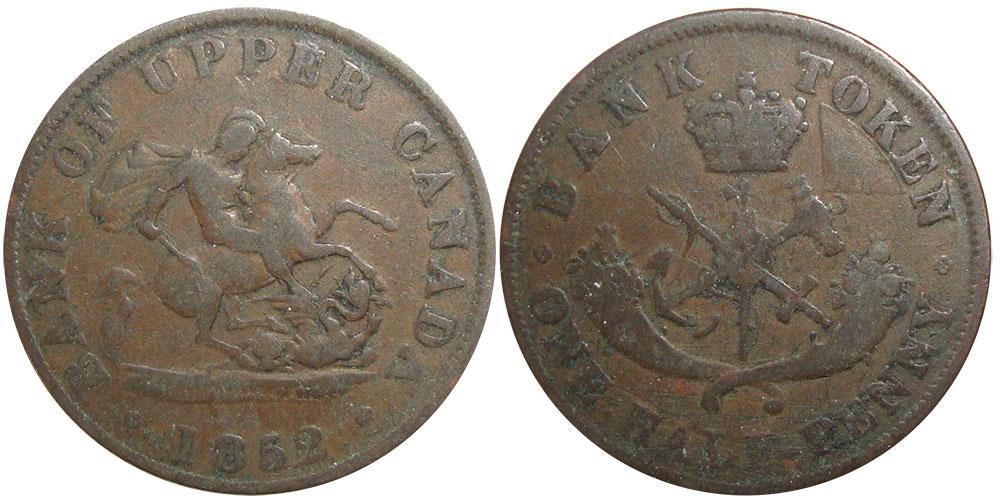 BANK OF UPPER CANADA 1852  HALF PENNY TOKEN