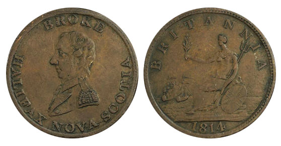 Broke - 1/2 penny 1814 - Long bust