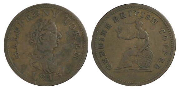 Genuine British Copper - 1/2 penny 1815