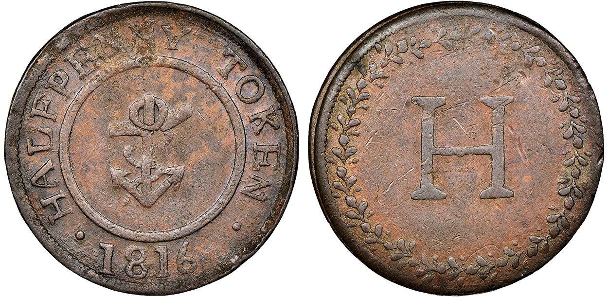 H - 1/2 penny 1816
