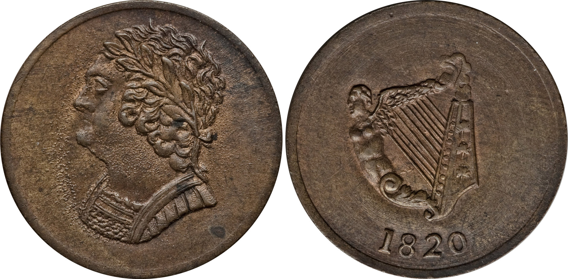 Imitation Bust and Harp - 1/2 penny 1820