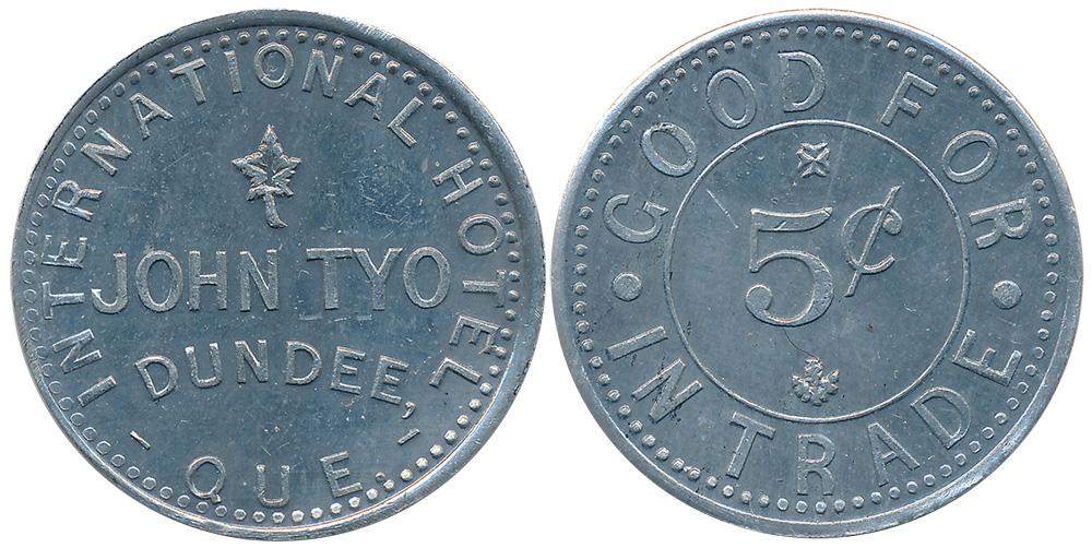 John Tyo - Dundee - 5 cents 1895
