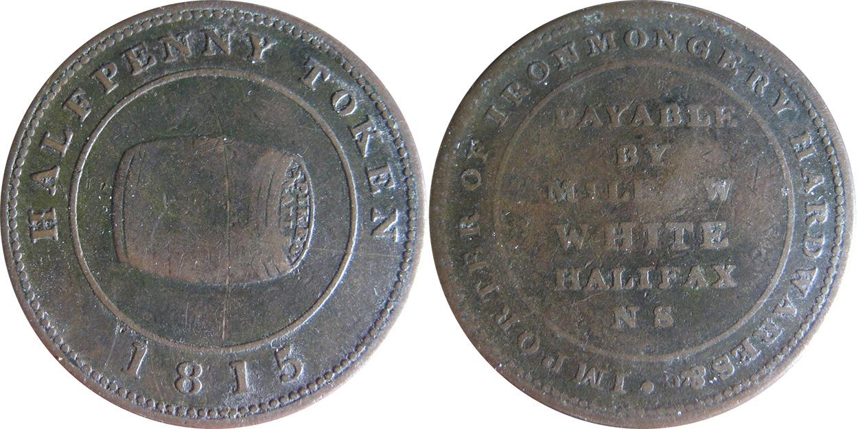 W. White - 1/2 penny 1815