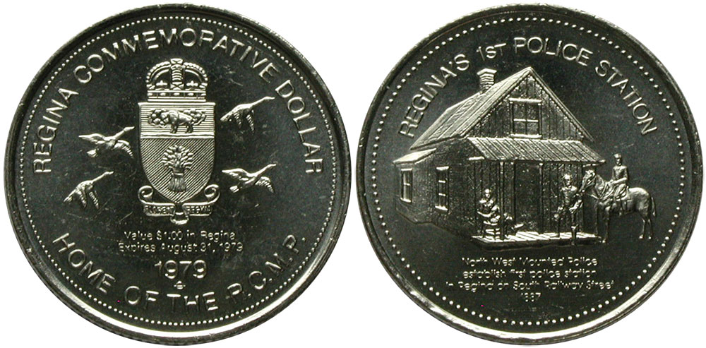 Regina - Commemorative Dollar - 1979 - Home of the R.C.M.P. - Regina's 1st Police Station