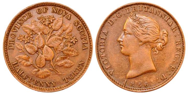 Nova Scotia - 1/2 penny 1856
