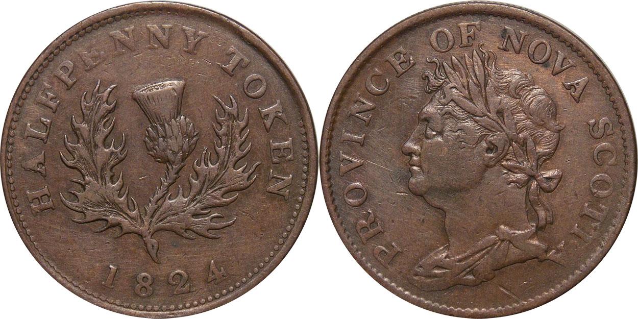 Nova Scotia - 1/2 penny 1824