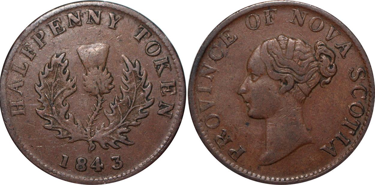 Nouvelle-Écosse - 1/2 penny 1843