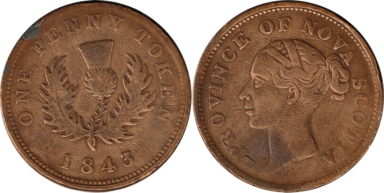 Nova Scotia - 1 penny 1843