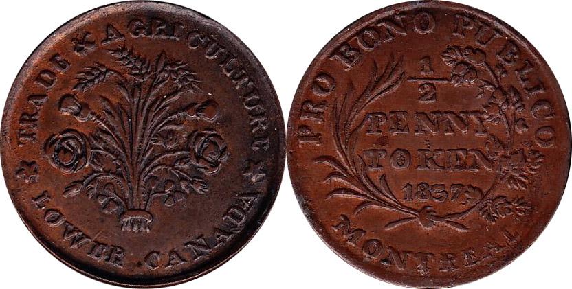 1/2 penny 1837 - Bono Publico Montreal