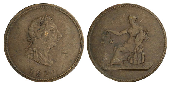 Seated Justice - 1/2 penny 1820
