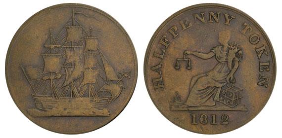 Ship - 1/2 penny 1812