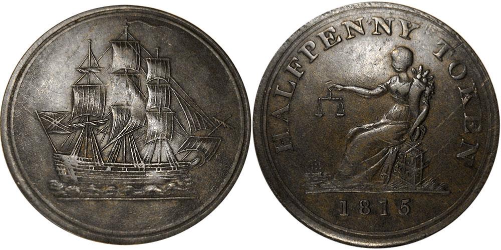 Ship - 1/2 penny 1815