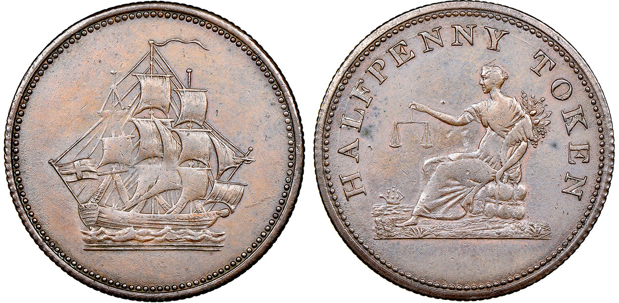 Ship - 1/2 penny undated